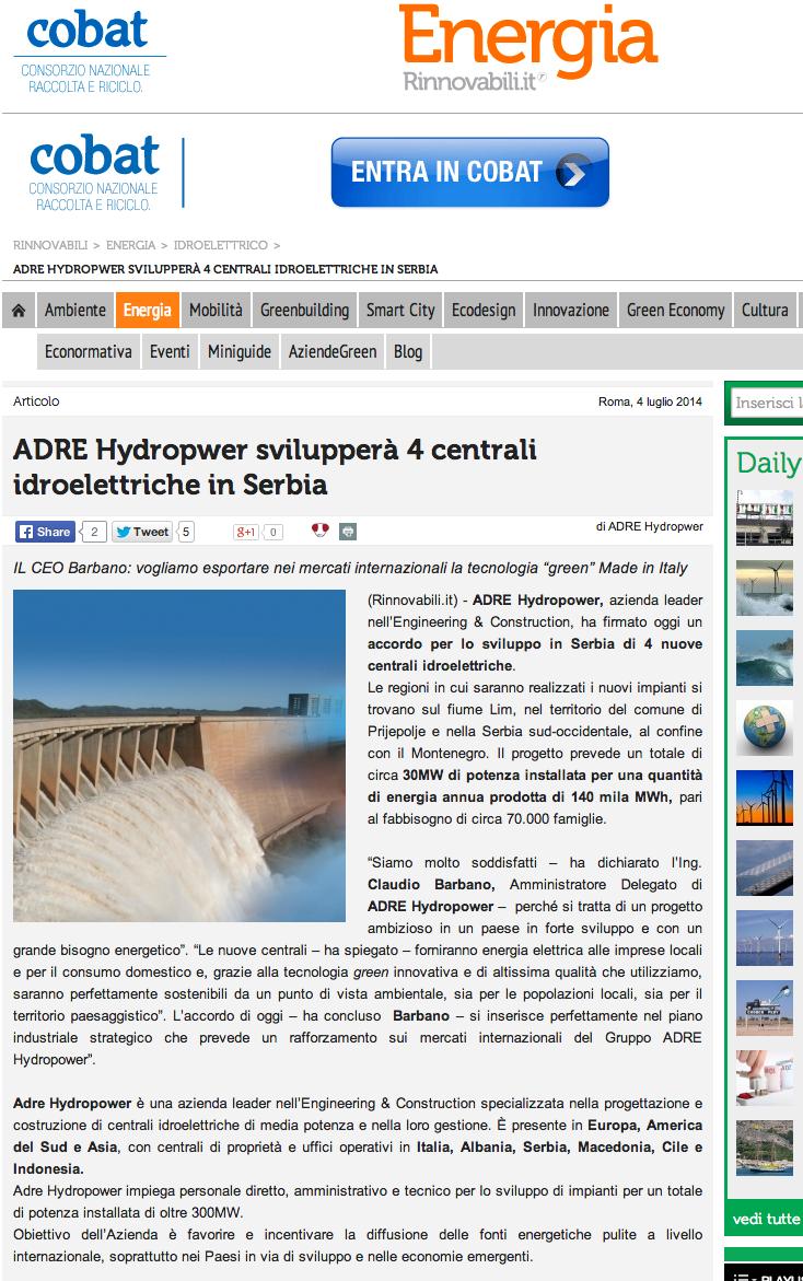 ADRE Hydropwer svilupperà 4 centrali idroelettriche in Serbia   Rinnovabili