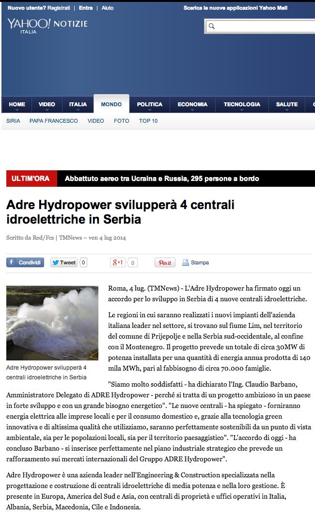 Adre Hydropower svilupperà 4 centrali idroelettriche in Serbia - Yahoo Notizie Italia