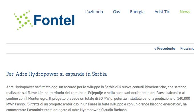 Fontel – Energia Pulita – Fer, Adre Hydropower si espande in Serbia