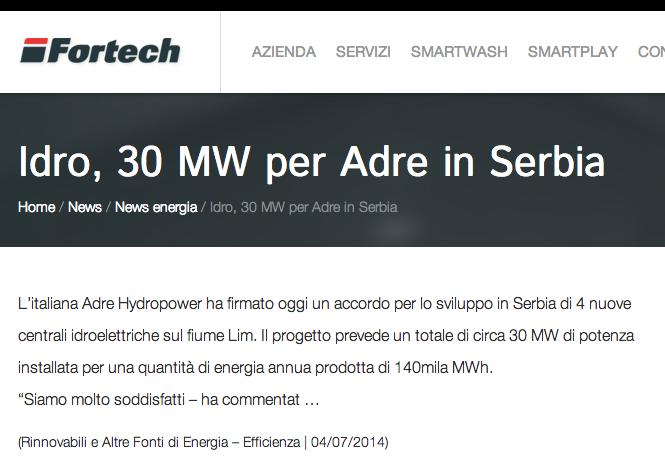 Idro, 30 MW per Adre in Serbia   Fortech
