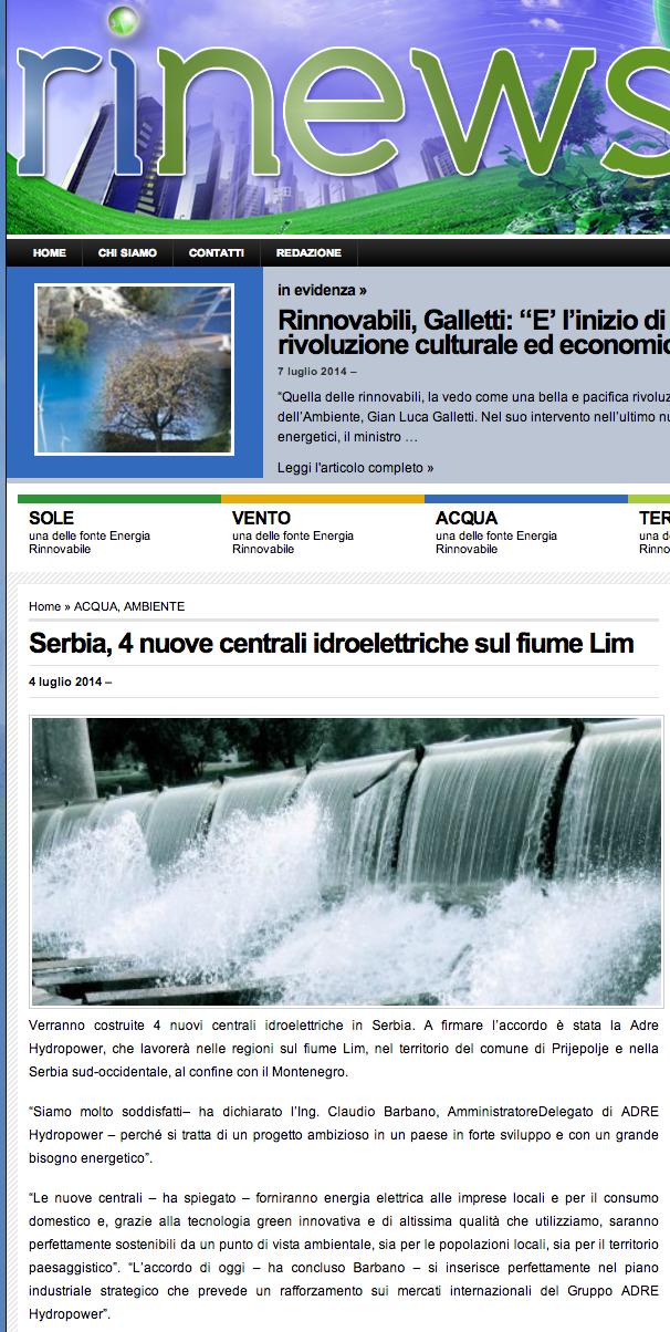 Serbia, 4 nuove centrali idroelettriche sul fiume Lim  redazione Rinews.it   Energia   Rinnovabile   Ambiente